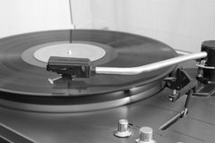 Close-up of a stereo vinyl record player. Close-up of a old stereo vinyl record player stock photos