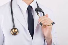 Close up Stethoscope equipment for physician doctor official. Royalty Free Stock Images