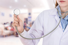 Close up stethoscope with female doctor in hospital Royalty Free Stock Photos
