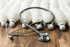 Close up of  Stethoscope and Lot of shuttlecocks Stock Images