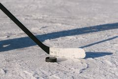 Close-up of sticks and pucks in the stadium royalty free stock image