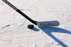 Close-up of sticks and pucks in the stadium stock images