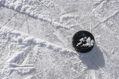 Close-up of sticks and pucks in the stadium royalty free stock photo