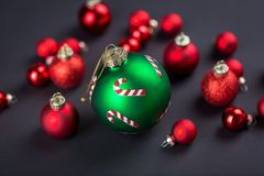 Festive Red and Green Christmas Ball Decorations Stock Image