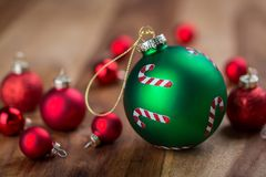 Festive Red and Green Christmas Ball Decorations Royalty Free Stock Photography