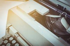 Close up still life typewriter on table. Sunlight royalty free stock image