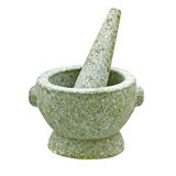 Close-up stone mortar and pestle isolated on white Royalty Free Stock Images