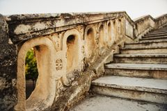 Close up of stone stairs Saint Clement Aqueduct in Montpellier. France stock photos