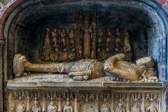 Close up of stone tomb st Mary`s church Abergavenny royalty free stock photos