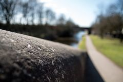 Stone Walls and Towpath. The close up of a stone wall and the towpath along the canal Royalty Free Stock Image
