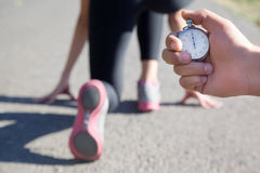 Close-up of a stopwatch in hand men Royalty Free Stock Images