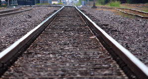 Close up of Straight Railroad Tracks Royalty Free Stock Photography
