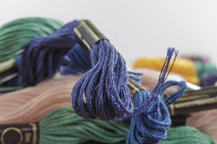 Close-up of stranded cotton thread, dark-blue color Royalty Free Stock Photo