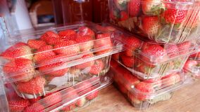 Strawberries in plastic boxes in the market stock photo