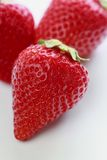 Close up of strawberry. Close up fresh some strawberrys on white background stock photo
