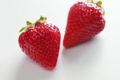 Close up of strawberry. Close up fresh some strawberrys on white background royalty free stock image