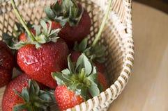 Close up strawberry basket. Close up fresh strawberry basket Royalty Free Stock Image