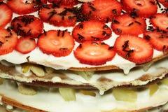 Close-up strawberry cake Stock Photos