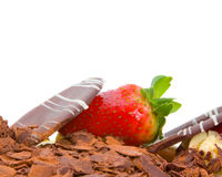 Close up of Strawberry on Chocolate Cake Stock Photos