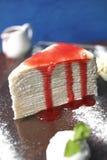Close up strawberry crape cake Royalty Free Stock Photography