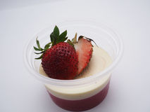 Close up strawberry pan cotta. Delicious strawberry panna cotta homemade royalty free stock image