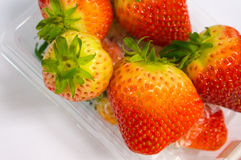 Close up strawberry in plastic box Stock Photos