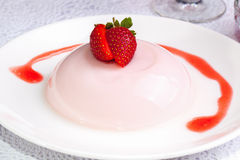 Close Up Strawberry Pudding dessert Royalty Free Stock Image