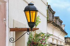 Close-up of a street lamp in historic quarter of Colonia del Sac Royalty Free Stock Images