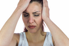 Close-up of stressed woman suffering from headache Stock Photography
