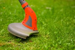Close up of string lawn trimmer mower cutting grass, over a grass background.  Stock Photos