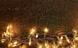Close up on string of yellow Christmas lights. With copy space above for concept about the holiday season Royalty Free Stock Image