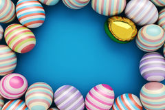 Close-Up of striped and golden easter eggs. Illustration for holiday. 3d render background.  Royalty Free Stock Photos
