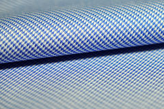 Close up striped pattern fabric blue and white of shirt Stock Photo