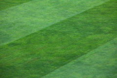Close-up of striped pattern on grassy soccer field. Vibrant green grass filling a field.  The grass is divided into thick vertical lines with one line containing Stock Image