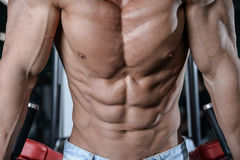 Close up strong abs guy showing in the gym muscles royalty free stock photos