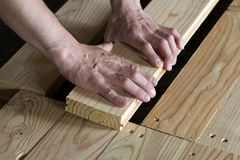 Close up of strong muscular hands of professional carpenter inst. Alling natural wooden new planks on wooden frame floor Reconstruction, improvement, renovation Stock Photo