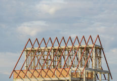 Structural steel roof using steel frames of building residential construction Stock Images