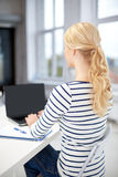 Close up of student with laptop and notebook Royalty Free Stock Images