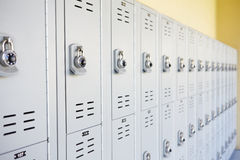 Close Up Of Student Lockers In High School Stock Photos