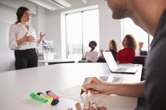 Close Up Of Student Using Highlighter Pens In Lecture royalty free stock image