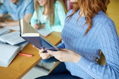 Close up of students reading books at school Stock Image