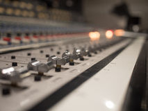 Close up Studio Audio Mixer Sliders Royalty Free Stock Photo