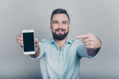 Close up studio photo portrait of cheerful youngster guy human i royalty free stock image