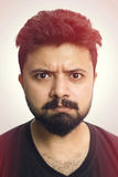 Close-Up Studio  Portrait Man Angry Face Expression Royalty Free Stock Photo