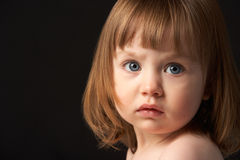 Close Up Studio Portrait Of Sad Young Girl Royalty Free Stock Photography