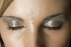 Close up studio shot of closed women's eyes with luxury winter fashion make up Royalty Free Stock Photography