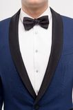 Close-up of style for man. Close-up of man in blue suit with bow tie isolated on white. Man's style Stock Photography