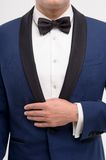 Close-up of style for man. Close-up of man with hand in blue suit with bow tie isolated on white. Man's style Royalty Free Stock Images