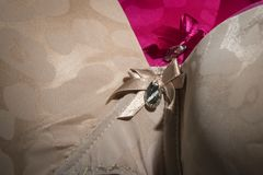 Close up of stylish, beige bra Royalty Free Stock Images