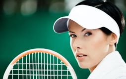 Close up of successful female tennis player Royalty Free Stock Photography